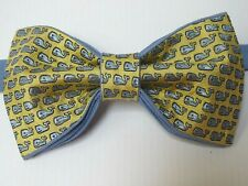 Custom Mens Bow Tie All over Whale Pre-tied Adjustable Handmade Yellow/Blue Gift