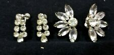 Dangle Silvertone Flower Star Burst A3 Two Euc Fabulous Clip Earrings Art Deco