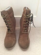 Brown suede high heel lace up boots. Size 7. Suede leather