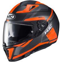 New HJC i 70 ELIM Full Face Motorcycle Helmet in built sunvisor - Orange ZE