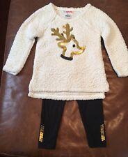 FLAPDOODLES® Girls' 2-2T Reindeer Sherpa Sweater & Bling Sequin Leggings Set