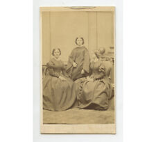3 SISTERS IN BEAUTIFUL LONG DRESSES + UP DO HAIR STYLE, CDV STUDIO PORTRAIT