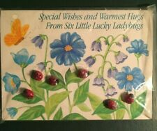 Vintage Card Avon Buttons: Lucky Ladybugs, 1984, self-shank, decorative card, x6