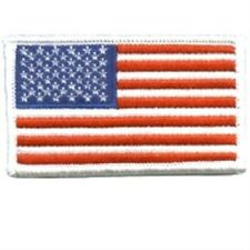 AMERICAN FLAG EMBROIDERED PATCH WHITE BORDER USA US UNITED STATES MILITARY