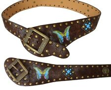 Western Cowboy CowGirl Costume Belt Brown Vintage Boho Hippie Style Butterfly