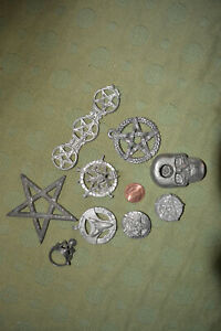 pagan wiccan wicca witchcraft pentacle skull lot vintage jewlery lot