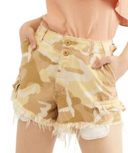 WE THE FREE Womens Beige Frayed Camouflage Shorts Size 2 Desert Combo NWT