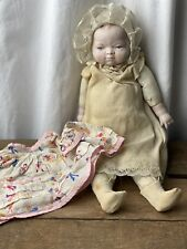 Antique Porcelain Bisque Baby Doll Cloth Body 13""