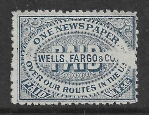 HICK GIRL- USED U.S LOCAL POST    ONE NEWSPAPER ROUTES WELLS, FARGO & CO.  S385