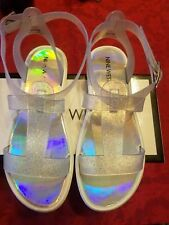 Nine West Heyleigh Silver Sandals for Girls. Size 4.  M.  9 inches.