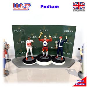 Podium, WASPslot 3D printed 1/32, track side scenery, driver, winners