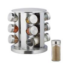 12 JARS REVOLVING SPICE RACK STAINLESS STEEL MASALA HERBS STORAGE CAROUSEL GLASS