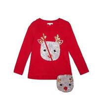 Debenhams Bluezoo Red Sequin Reindeer Top & Bag Set 6-7 Years TD182 MM 11