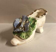 Vintage Glass Shoe White Purple Flowers Figure Boot Figurine Tet China