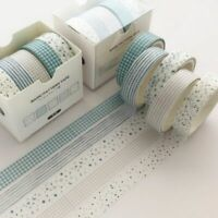 Grid Washi Tape Cute Decorative Adhesive Tape Solid Color Masking Tape 5Pcs/Set