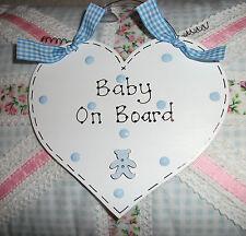 Baby a bordo auto sign ~ Shabby Chic Cuore & Teddy pulsante ~ Scelta di Colori