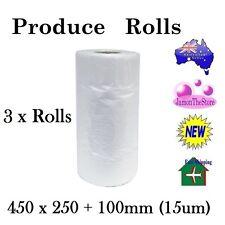 3 x Produce Roll HD Vegetable Food Plastic Freezer Dental Bag 450x250+100mm15um