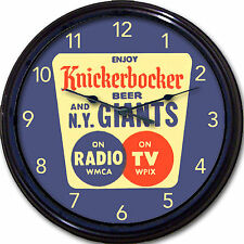 New York Giants Beer Coaster Wall Clock Knickerbocker Beer WMCA Radio WPIX TV