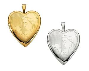 14K Yellow Gold or Sterling Silver 21mmX19.5mm Mother With Child Heart Locket