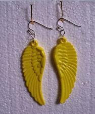 Big Yellow Guardian Angel Wing Dangly Clip-on Earrings - Acrylic