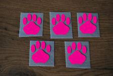 5 Stück Pfoten Pink Samt Flock Applikation zum aufbügeln Flicken Aufnäher Patch
