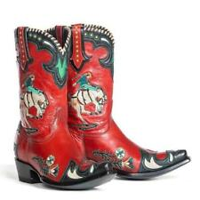 Fashion Women's Chinese Style Embroidery flowers Block Heels Ankle Boots SZ Q879