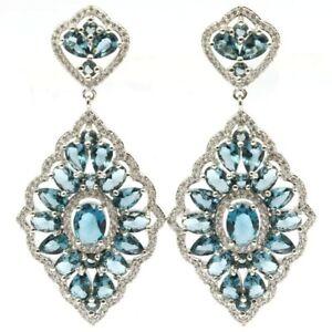 Luxury Long Big Heavy London Blue Topaz CZ Woman's Silver Earrings