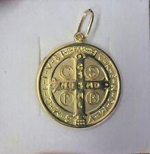 18KT Gold Cross St Benedict Saint Medal - Medium - 4.1 grams - 1 in