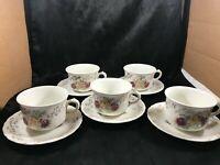 Set of 5 Vintage D E MCNICOL Rose Pattern Gold Trim Teacups Saucers