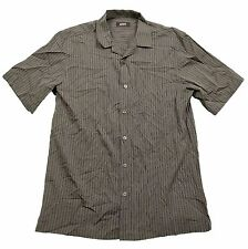 Alfani Black Kennel Striped S/S Button Front Deep Black Shirt in Large