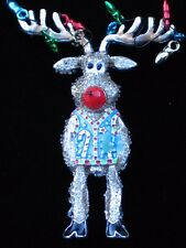 UGLY SWEATER CHRISTMAS TREE LIGHTS STANDING RUDOLPH REINDEER PIN BROOCH JEWELRY