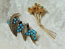 Vintage Brooches Lot of two Jade & Turquoise Unmarked