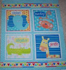Swingin Safari Block Quilt top Panel Fabric 100% Cotton Elephant Monkey Giraffe