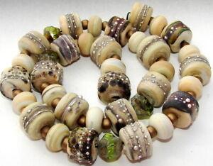 """Sistersbeads """"C-RIver Rock"""" Handmade Lampwork Beads"""