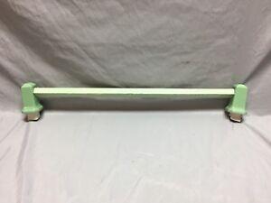 """Antique Jadite Green Porcelain 24"""" Apple Green Wood Towel Bar Vtg Old 194-18C"""