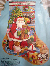 Christmas Holiday Bucilla Needlepoint Stocking Kit,SANTA'S VISIT,Gillum,60702,18
