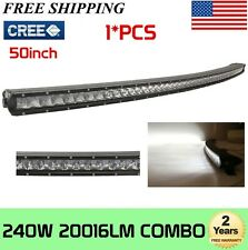 "50"" 240W Slim Curved LED Light Bar Single Row Spot Flood Combo Offroad SUV 288W"