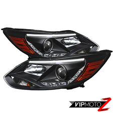 2012-2014 Ford Focus Sedan Hatchback LED DRL [ OMG ] Black Projector Headlights