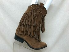 Smoky Mountains Brown Leather Fringe Cowboy Western Boots Youth Sz 3.5 R - 3514