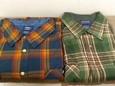Lot of 2 John Blair Mens Flannel 2XL-RG Long Sleeve Green Red/Blue Orange Shirts