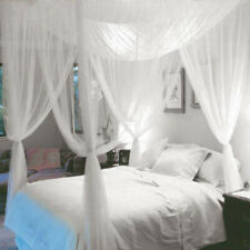Full Queen King Size 4 Corner Post Bed Canopy Mosquito Net Netting White
