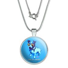 """Jack of Hearts Russell Terrier Retro 1"""" Pendant w/ Silver Plated Chain"""