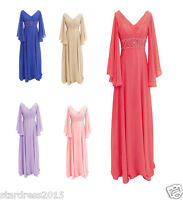 New V-Neck Mother of the Bride Dresses 3/4 Sleeve Beaded Evening Gowns Plus Size