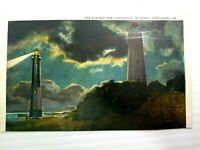 Vintage Postcard The Old and New Lighthouse by Night Cape Henry VA