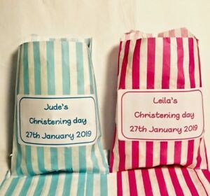 Personalised Christening Sweet Bags Candy Cart Party Bag Favours Baptism Events