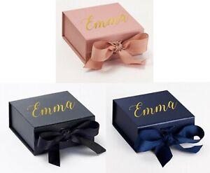 SMALL PERSONALISED GIFT BOX RIBBON BOW, CHRISTMAS, NAME,BIRTHDAY, GOLD SILVER