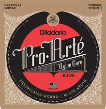 D'Addario EJ49 Pro Arte Black Nylon Classical Guitar Strings - normal tension