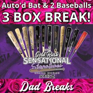 BOSTON RED SOX 2021 Gold Rush Signed Bat + 2 TriStar Baseballs: 3 BOX BREAK