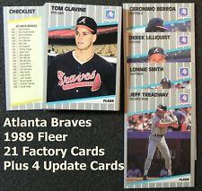 ATLANTA BRAVES 1989 Fleer 25-Card Team Set from Factory & Update Sets