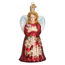 """Red Poinsettia Angel"" (10176)X Old World Christmas Ornament w/ OWC Box"